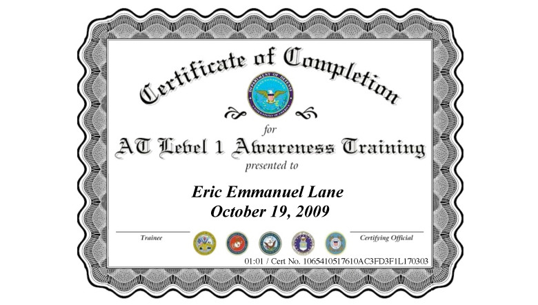 Army Training: Army At Level 1 Awareness Training